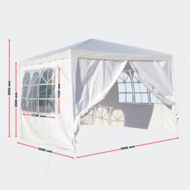 Tuintent partytent paviljoen 3x3m losse zijpanelen wit