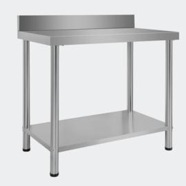 Werktafel inox rvs tuintafel 100 x 60 x 85 cm met rand