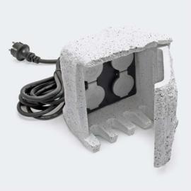 Tuinstopcontact met 4 contactdozen IP44 Stone Design 1,5m kabel