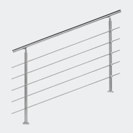 Leuning balustrade traprail rvs 5 dwarsbalken 140cm