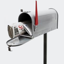 US Mailbox brievenbus Amerikaans Design zilver met staander