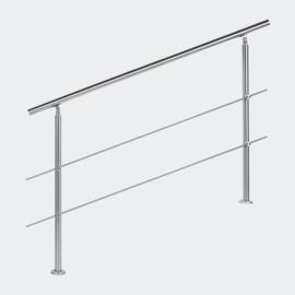 Leuning balustrade traprail rvs 2 dwarsbalken 140cm