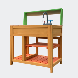 Speelkeuken Outdoor in hout 58x39.2x73.1cm met gootsteen