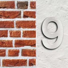 Huisnummer 9 Arial rvs/inox 3D 20cm weerbestendig