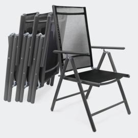 Aluminium 4-delige antracietgrijze stoelenset  hoge rugleuning verstelbaar
