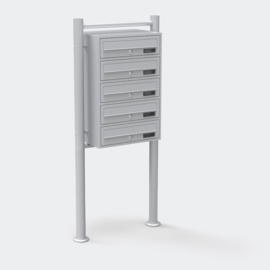 Vijfvoudige brievenbus staand model zilver