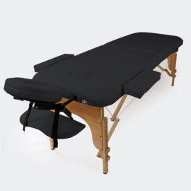 Massagetafel therapiebank met 2 zones zwart
