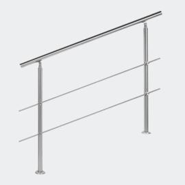 Leuning balustrade traprail rvs 2 dwarsbalken 120cm