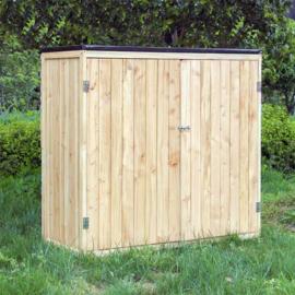 Tuinopberger tuinkast hout natuurlijke kleur 2 deuren gereedschapskast
