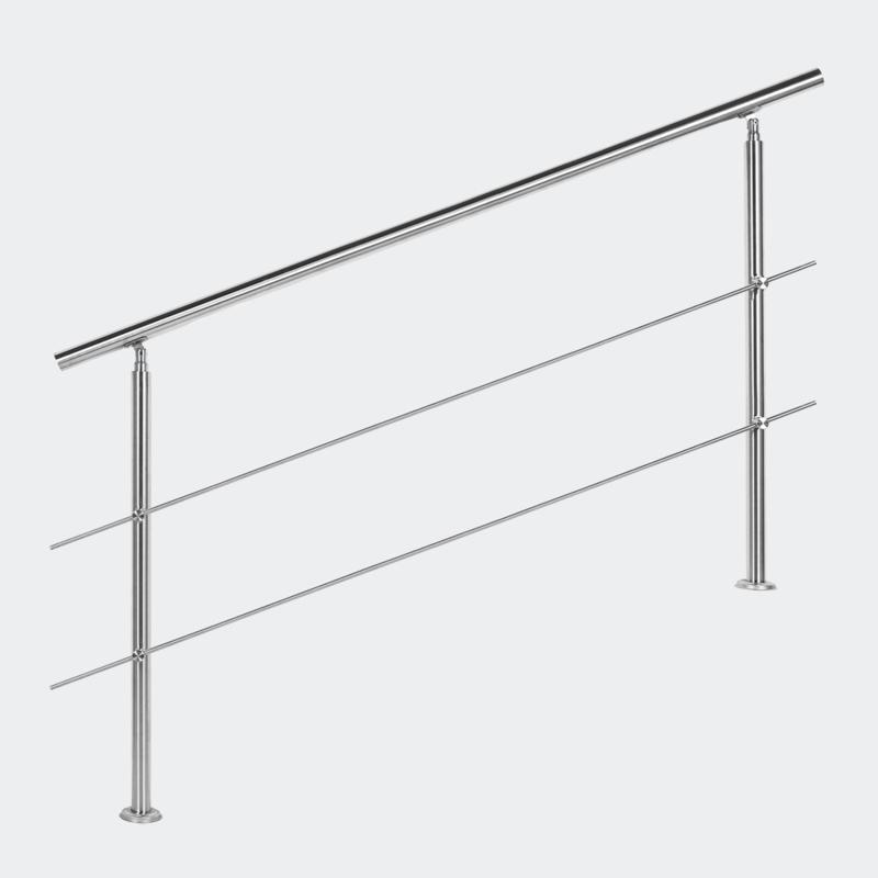 Leuning balustrade traprail rvs 2 dwarsbalken 160cm