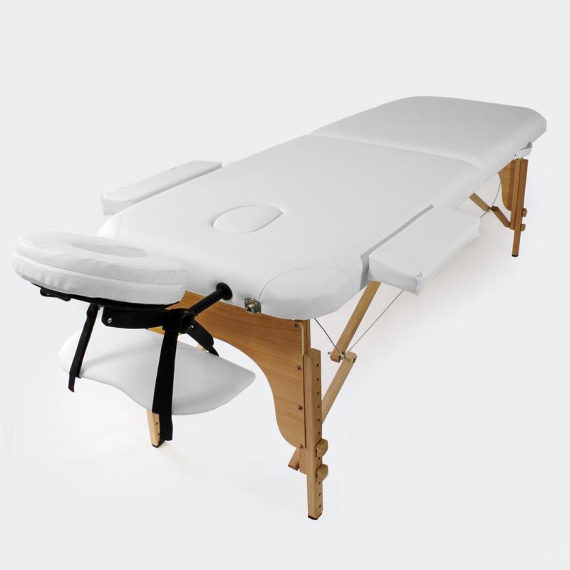 Massagetafel therapiebank met 2 zones wit