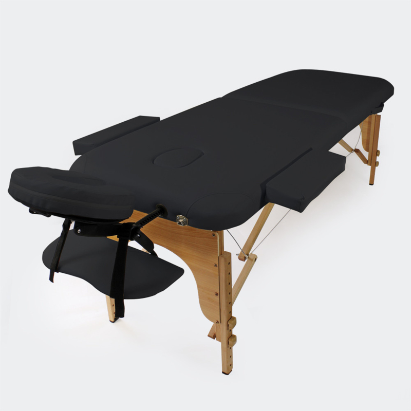 Massagetafel therapiebank met 2 zones zwart