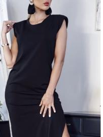 Padded shoulder dress with split