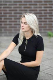 Ribbed Midi Dress Black