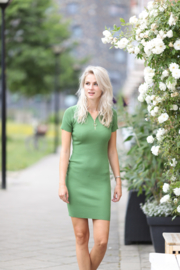 Ribbed Midi Dress Green