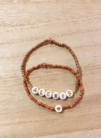 Armband hart roze/brons