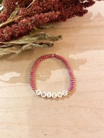 Gepersonaliseerde armband pink (Miyuki!)
