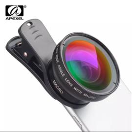 Apexel Universele telefooncamera's Lens Wide Angel & Macro