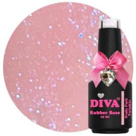 Diva Gellak Rubber Basecoat Nude Peach Twinkle 15 ml