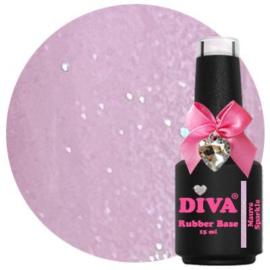 Diva Gellak Rubber Basecoat Mauve Sparkle 15 ml