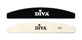 Diva Hygiëne Half Moon Systeem Zebra Vijlen 100 grit 25 pcs inclusief Plastic Handle