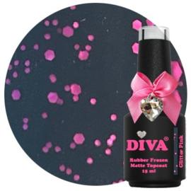 Diva Rubber Frozen Matte Topcoat - Glitter Pink 15ml