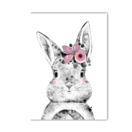 A4 poster Lieve konijn meisje ( PER 2 STUKS )