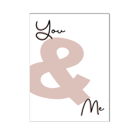 "A4 poster "" You & Me "" zwart ( PER 2 STUKS )"