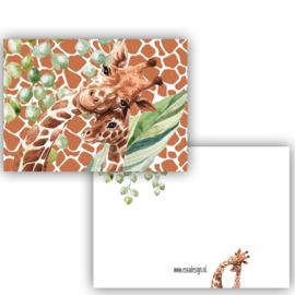 Kaart Giraffe met baby ( PER 5 STUKS )