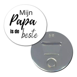 """Opener/Magneet """" Mijn Papa """" wit ( PER STUK )"""