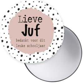Spiegeltje Lieve Juf roze ( PER STUK )