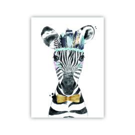 A4 poster Lieve zebra blauw ( PER 2 STUKS )