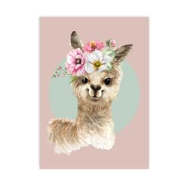 A4 poster Alpaca roze ( PER 2 STUKS )