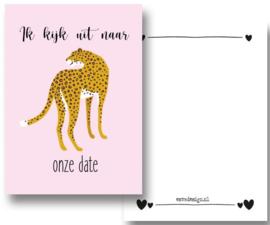 Kaart Leopard roze trots ( PER 5 STUKS )