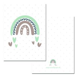 Mini kaartje Rainbow groen ( PER 5 STUKS )