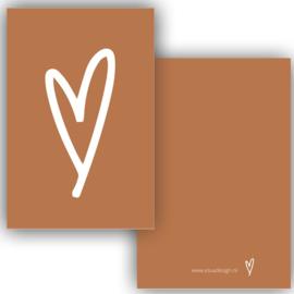 Mini kaartje hart cognac ( PER 5 STUKS )