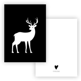 Kerstkaart Hert wit zwart ( PER 5 STUKS )