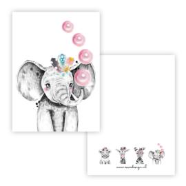Kaart lieve olifant roze ( PER 5 STUKS )