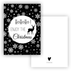 Kerstkaart Hohoho Enjoy the Christmas zwart ( PER 5 STUKS )