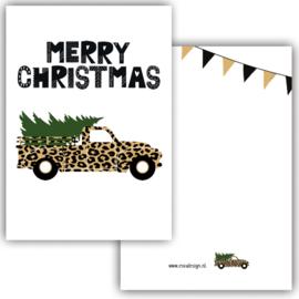 Kerstkaart Merry Christmas leopard car ( PER 5 STUKS )