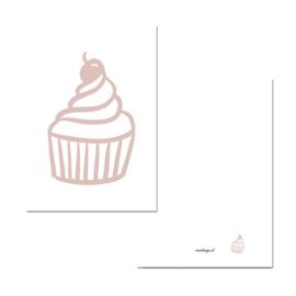 Mini kaartje cupcake roze/wit ( PER 5 STUKS )
