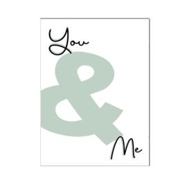 """A4 poster """" You & Me """" groen ( PER 2 STUKS )"""