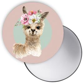 Spiegeltje Alpaca roze ( PER STUK )