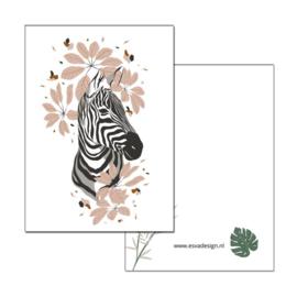 Kaart Jungle Zebra hoofd ( PER 5 STUKS )