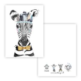 Kaart lieve zebra blauw ( PER 5 STUKS )