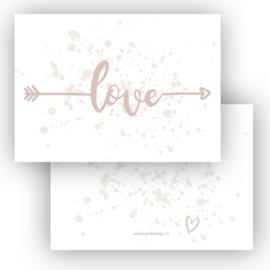 Kaart Love roze ( PER 5 STUKS )
