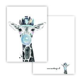 Lieve giraffe blauw ( PER 5 STUKS )