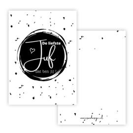 Mini kaart JUF zwart  ( PER 5 STUKS )