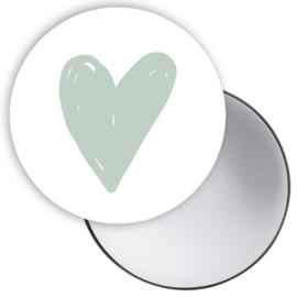Spiegeltje Hart groen ( PER STUK )