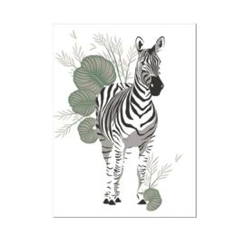 A4 poster Jungle zebra ( PER 2 STUKS )